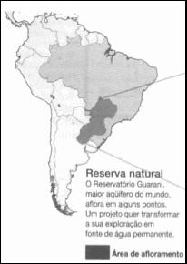Mapa representando o maior reservatório de água subterrânea do mundo.