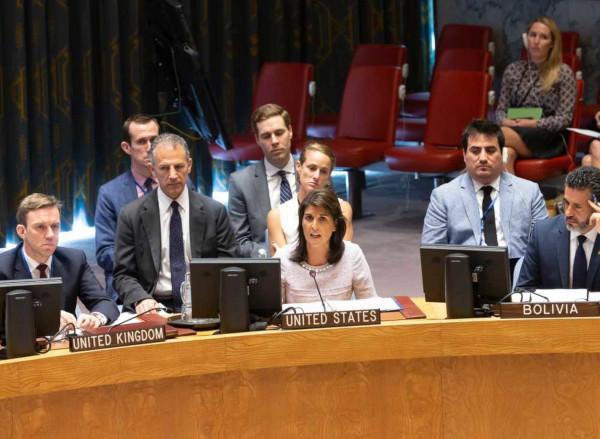 Embaixadores em uma reunião no Conselho de Segurança da ONU.*