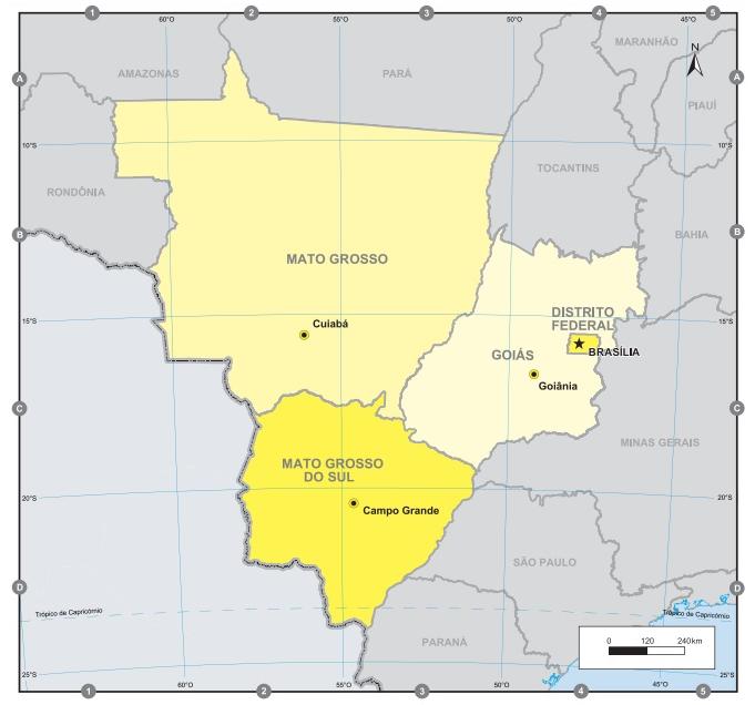 A região Centro-Oeste do Brasil é composta por três estados e o Distrito Federal. (Fonte: IBGE)