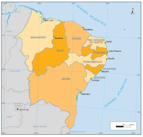 A região Nordeste do Brasil é composta por nove estados. (Fonte: IBGE)