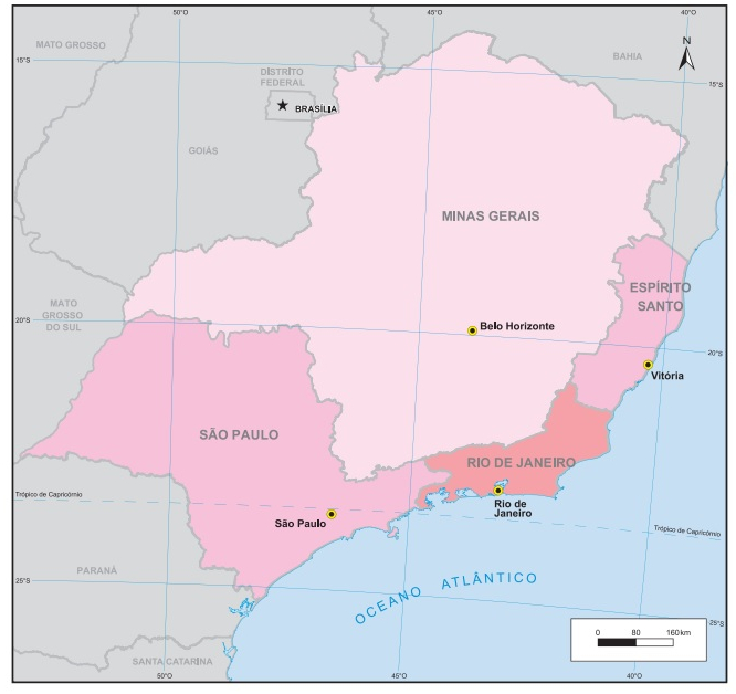 A região Sudeste do Brasil é composta por quatro estados (Fonte: IBGE)