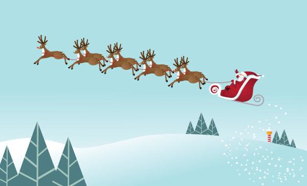 O trenó do Papai Noel é guiado por nove renas voadoras.
