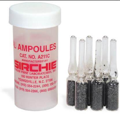 Empolas de vidros com cristais de iodo