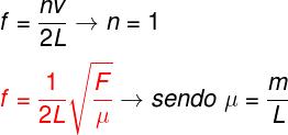 Fórmula da frequência da corda oscilante