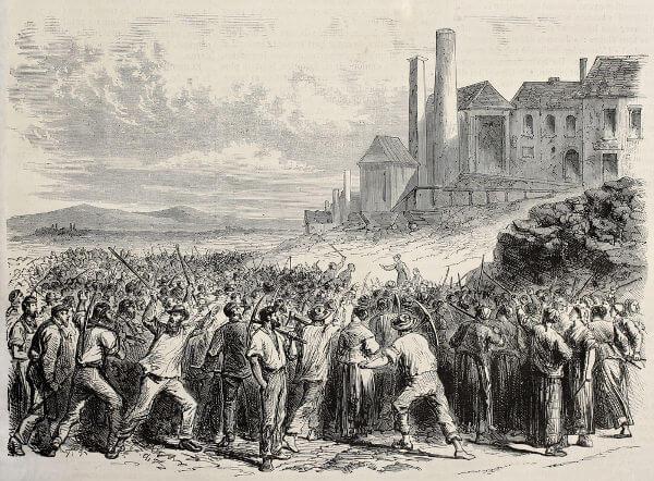 Representação de uma revolta de trabalhadores do século XIX.