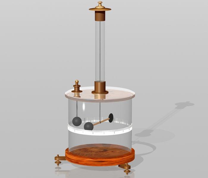 Esquema da balança de torção desenvolvida por Coulomb