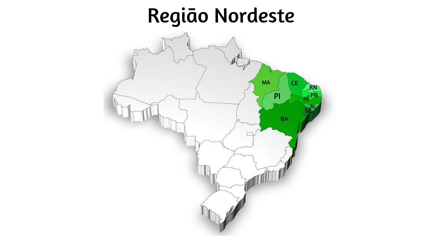 A Região Nordeste é a região com o maior número de estados.