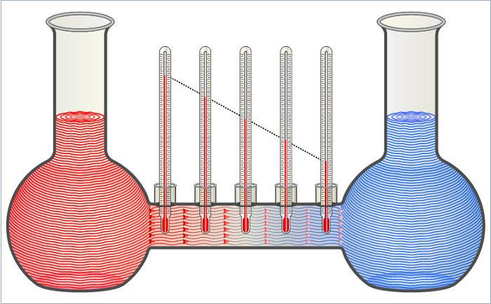 Os dois líquidos da figura transferem calor entre si até que suas temperaturas fiquem iguais.