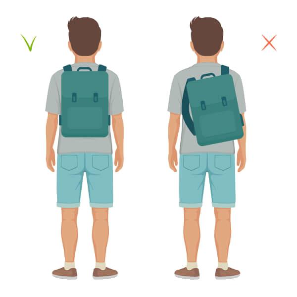 Nunca devemos carregar a mochila utilizando apenas uma alça.