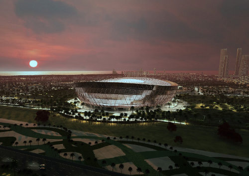 Estádio Lusail projetado para receber a abertura e final da Copa. (Crédito: Divulgação)