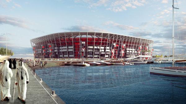 Estádio Ras Abu Aboud, construído com contêineres, será desfeito depois da Copa. (Crédito: Divulgação)