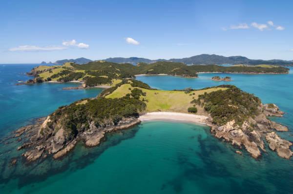 Ilha de Urupukapuka na Nova Zelândia.