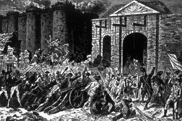 Ilustração retrata a tomada da Bastilha em 14 de julho de 1789, na cidade de Paris. A Queda da Bastilha deu início à Revolução Francesa.