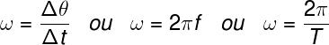 A velocidade angular é determinada pela frequência ou pelo período da rotação.