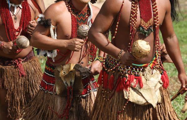 Índios brasileiros da etnia Pataxó durante ritual de dança.