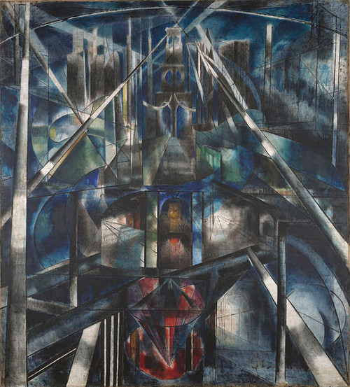 Ponte do Brooklyn, de Joseph Stella, 1919-1920, outro exemplo de obra futurista.